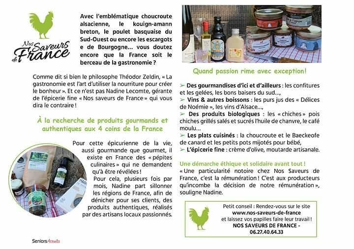 article sur Nos saveurs de France paru dans Seniors Actuels