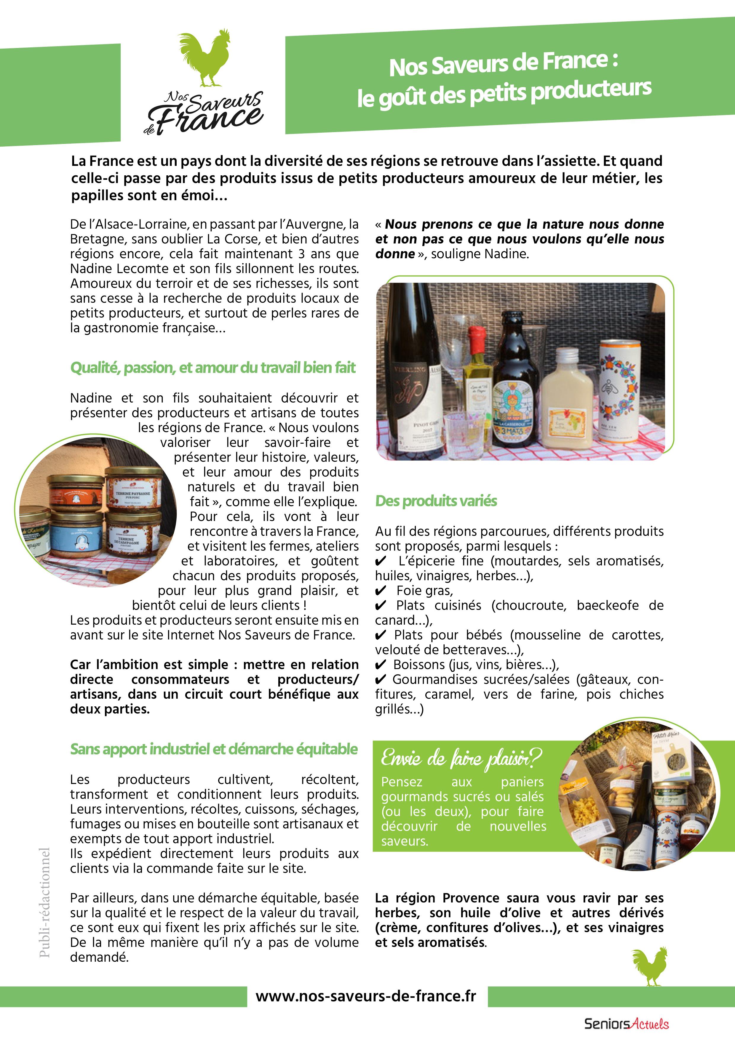 L'article de Nos saveurs de France dans Seniors actuels